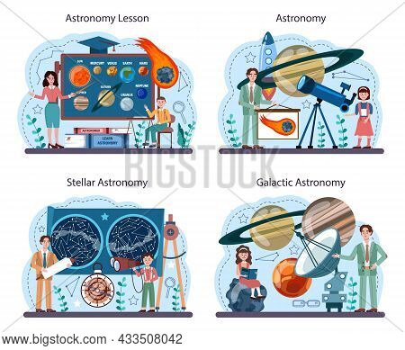 Astronomy School Subject Set. Students Looking Through A Telescope