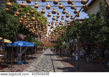 Alanya, Turkey - August 31, 2021: Street In Alanya Decorated With Pumpkins In Turkey. Shopping Stree