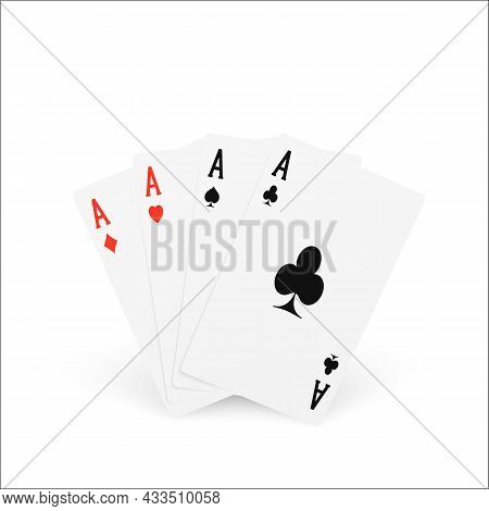 Playing Card Four Of A Kind Or Quads. Ace Design Cazino Game Element. Poker Or Blackjack Realistic C