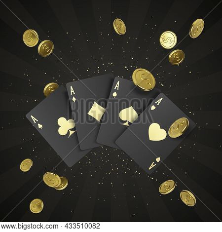 Four Black Poker Cards With Gold Label And Falling Golden Coin On Background. Quads Or Four Of A Kin