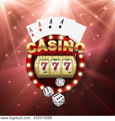 Casino Banner With Slot Machine Four Aces And Dice. Win Jeckpot. Play Game And Win. Vector Illustrat