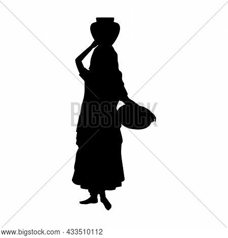 Silhouette Indian Woman Carrying Jug On Her Head And Basket In Her Hand. Illustration Symbol Icon