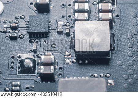 Laptop Motherboard Close Up With Resistors Transistors
