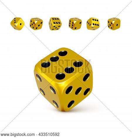 Dice. Set Of 3d Golden Or Yellow Craps With Black Dots. Play Casino And Win Jackpot. Vector Illustra