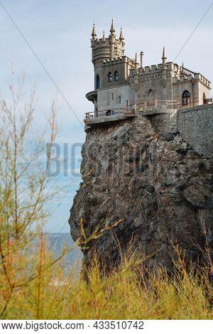 Castle Swallow's Nest In Crimea, Cloudy Weather.