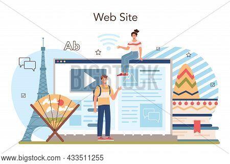 Language School Online Service Or Platform. Professor Teaching