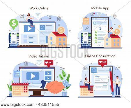 Real Estate Industry Online Service Or Platform Set. Realtor Assistance
