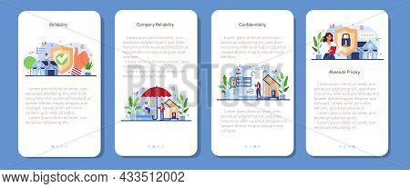 Real Estate Advantages Mobile Application Banner Set. Reliable Real