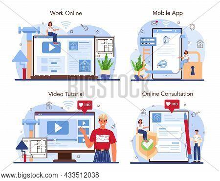 Real Estate Industry Online Service Or Platform Set. House Remodeling