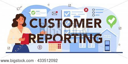 Customer Reporting Typographic Header. Real Estate Industry, Low Comission