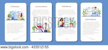 Real Estate Industry Mobile Application Banner Set. Low Comission