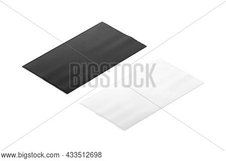 Blank Black And White Rectangle Interior Carpet Mockup, Side View, 3d Rendering. Empty Overlay Footc