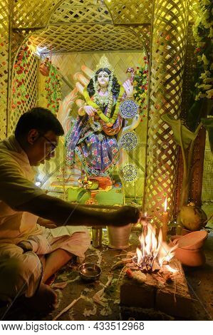 Howrah, West Bengal, India - 17th February, 2019 : Hindu Purohit Made Yajna To Worship Goddess Saras