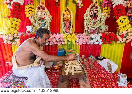 Howrah, West Bengal, India - 29th June 2020 : Hindu Priest Arranging Yajna To Worship Idol Of God Ja