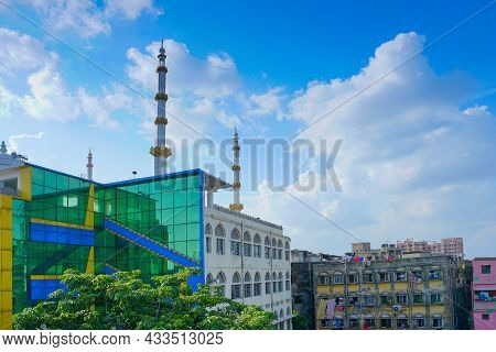 Kolkata, West Bengal, India - 20th July 2019 : Park Circus Masjid, Islamic Religious Prayer Building