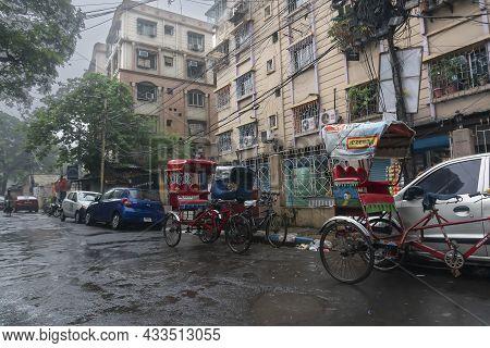 Kolkata, West Bengal, India - 4th August 2020 : Image Shot Through Raindrops Falling On Wet Glass, H