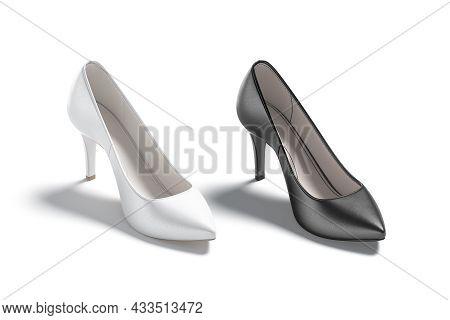 Blsnk Black And White High Heels Shoes Mockup, Side View, 3d Rendering. Empty Elegance Female Footge