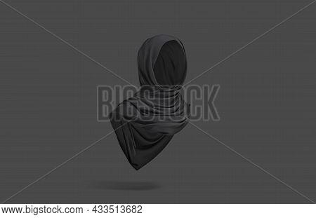 Blank Black Woman Muslim Hijab Mockup, Dark Background, 3d Rendering. Empty Eastern Tube Accessories