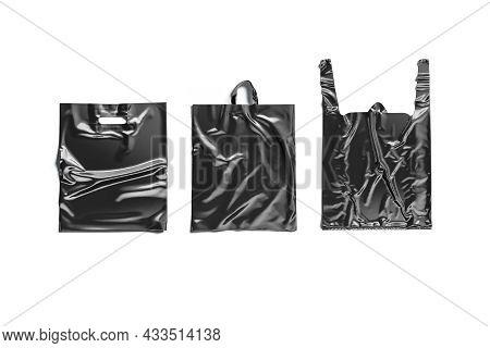 Blank Black Plastic Bag Mockup Set, Top View, Different Types, 3d Rendering. Empty Polythene Handle