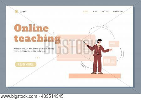 Online Teaching And Distance Education Website Banner, Flat Vector Illustration.
