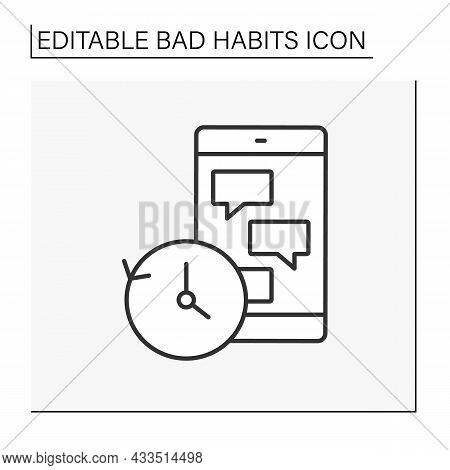 Phone Addiction Line Icon. Social Networks Dependence. Messaging Whole Night. Communication. Bad Hab