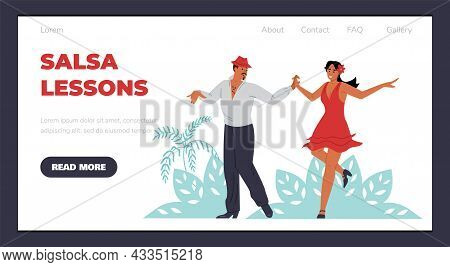 Web Page Banner For Salsa Lessons With Dancers Flat Vector Illustration.