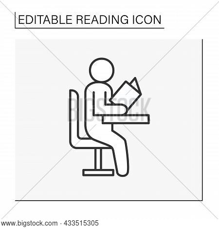 Study Line Icon. Schoolboy Sitting On A School Desk And Reading A Book. Process Of Acquiring Skills