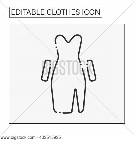 Fashion Line Icon. Going Out In Evening Dress. Elegance Dress With Gloves.clothes Concept. Isolated