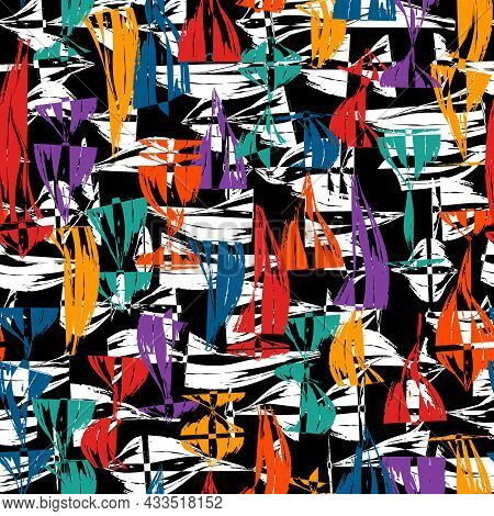 Abstract Expressionism Style Seamless Pattern. Hand Drawn Chaotic Paint Smears Surface Print. Freeha