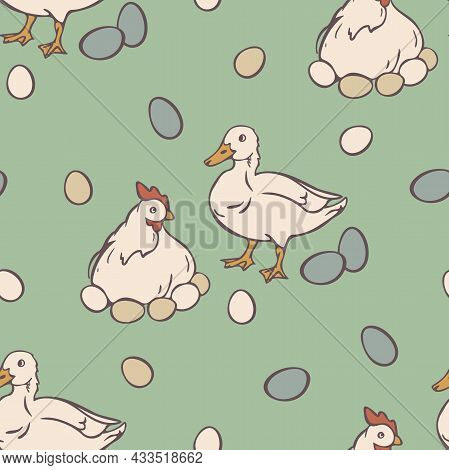 Vector Seamless Pattern With Duck And Brood Hen. Domestic Birds And Eggs On Light Green Background.