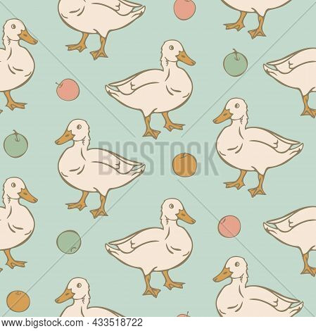 Vector Seamless Pattern With Duck And Apples. Domestic Duck And Multicolor Apples On Light Blue Back