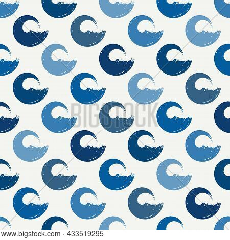 Polka Dot Seamless Pattern. Sea Wave, Tide Motif Modern Ornament. Summer, Nautical Abstract Wallpape