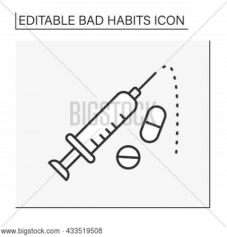 Drug Injections Line Icon. Intravenous Drug Abuse. Unhealthy Addiction. Narcotic.bad Habits Concept.