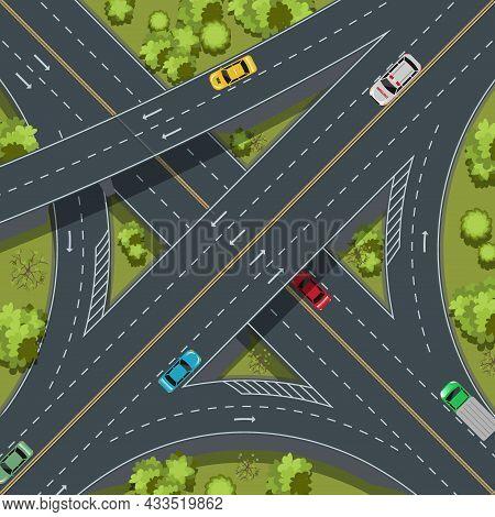 Aerial Top View Highway Junction, Cross Roads, Interchange And Expressway Is An Important Infrastruc