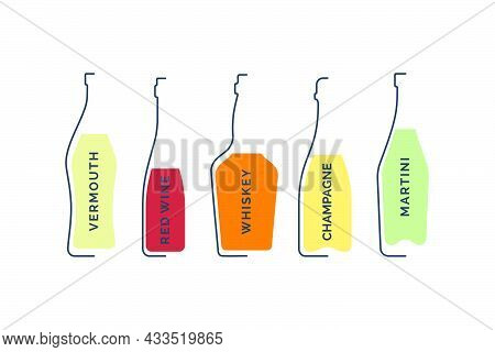Bottle Vermouth, Red Wine Whiskey Champagne And Martini In Linear Style On White Background. Black T