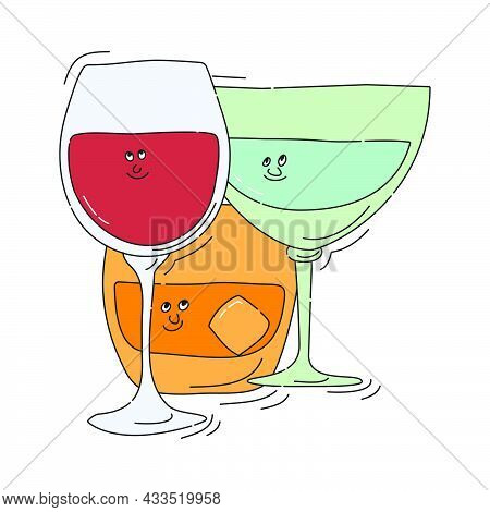 Red Wine Whiskey Vermouth Glassware With Smile Face On White Background. Cartoon Sketch. Doodle Styl