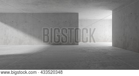 Abstract Empty, Modern Concrete Room With Indirect Lighting From Right Side Wall, Sunlight And Rough