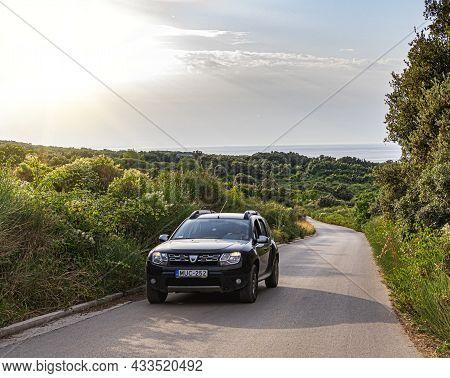 Vir, Croatia - July 27, 2021: Dacia Duster On The Road At The Island Of Vir, Croatia.