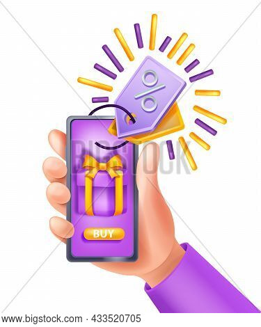 3d Hand Holding Smartphone, Vector Online Payment App Concept, Mobile Sale Purchase, Gift Box, Tag.