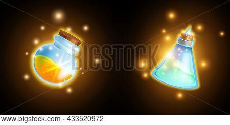 Magic Potion Bottle Vector Set, Elixir Mobile Game Icon, Alchemy Poison Glass Flask, Wizard Shine Ma