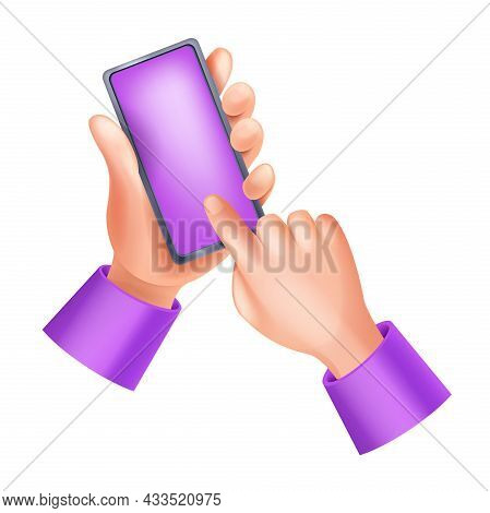 3d Hands Holding Smartphone, Vector Touch Screen Illustration, Human Finger, Mobile App Ui Icon. Per