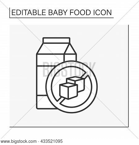Drink Line Icon. Delicious Organic Drink In Paper Packing. Sugar-free. Vitamin Drink. Children Nutri