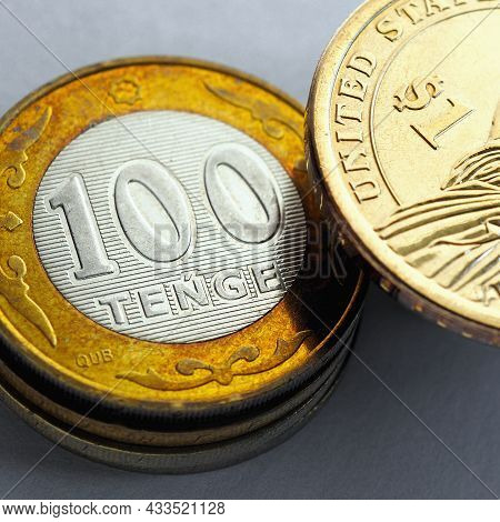 Kazakh Tenge And Us Dollar. A Square Illustration About The Exchange Rate Of Currencies And The Econ