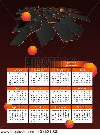 Vertical Futuristic Yearly Calendar 2022, Week Starts On Sunday. Annual Big Wall Calendar Colorful M