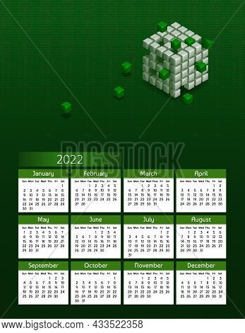 Vertical Futuristic Yearly Calendar 2022 With Blockchain Cubes, Week Starts On Sunday. Annual Big Wa