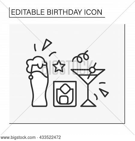 Party Line Icon. Cocktail Party With Beer, Whiskey And Ice. Alcohol Drink. Celebration.birthday Conc