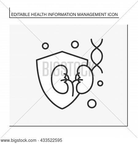 Health Care Line Icon. Kidney Protection From Diseases. Dna Analysis. Health Care. Health Informatio