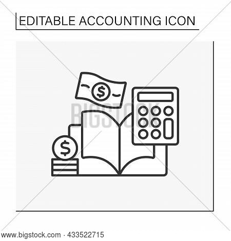 Budget Line Icon. Recording Financial Transactions Pertaining To Business.summarizing, Analyzing And