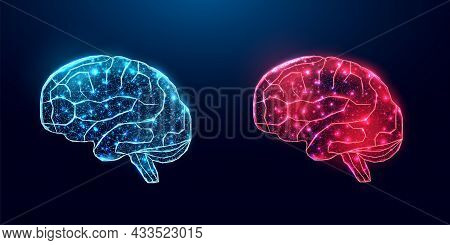 Human Brain. Wireframe Low Poly Style. Concept For Medical, Brain Cancer, Neural Network. Abstract M