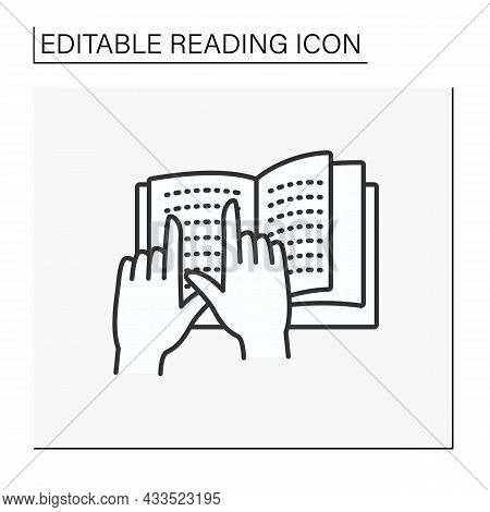 Learning Process Line Icon. Braille Books For Blind People. Tactile Reading. Lesson. Reading Concept